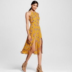 Exhilaration mustard midi dress
